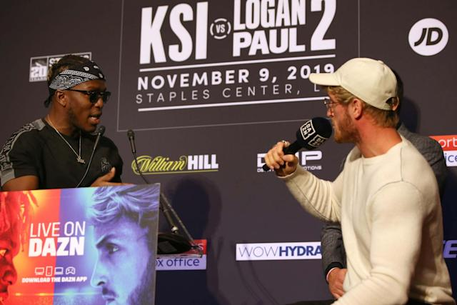 KSI and Logan Paul at the press conference on Thursday: Victor Decolongon/Getty Images