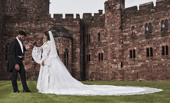 Ciara and Russell Wilson on their wedding day at a castle in England. (Photo: @ciara/Instagram)