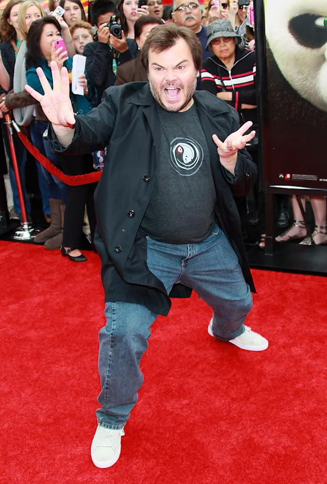 """<a href=""""http://movies.yahoo.com/movie/contributor/1800180457"""">Jack Black</a> attends the Los Angeles premiere of <a href=""""http://movies.yahoo.com/movie/1810090593/info"""">Kung Fu Panda 2</a> on May 22, 2011."""