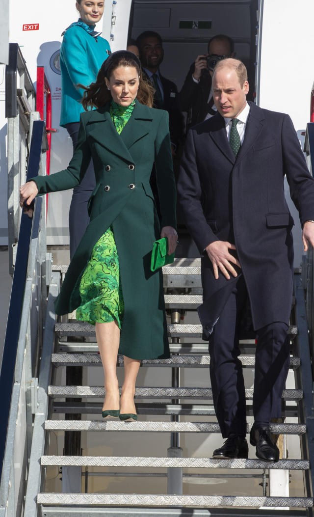The Duke and Duchess of Cambridge were greeted by dignitaries at the airport. (Press Association)