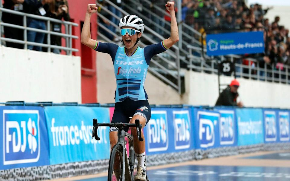 Lizzie Deignan wins inaugural edition of women's Paris-Roubaix to write her name into cycling folklore - GETTY IMAGES