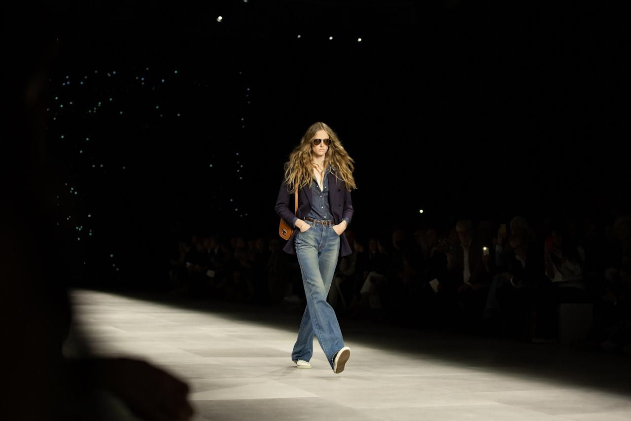 On the runway at the Celine SS20 show during Paris Fashion Week on Friday, September 27th, 2019. Photograph by Serichai Traipoom for W Magazine.