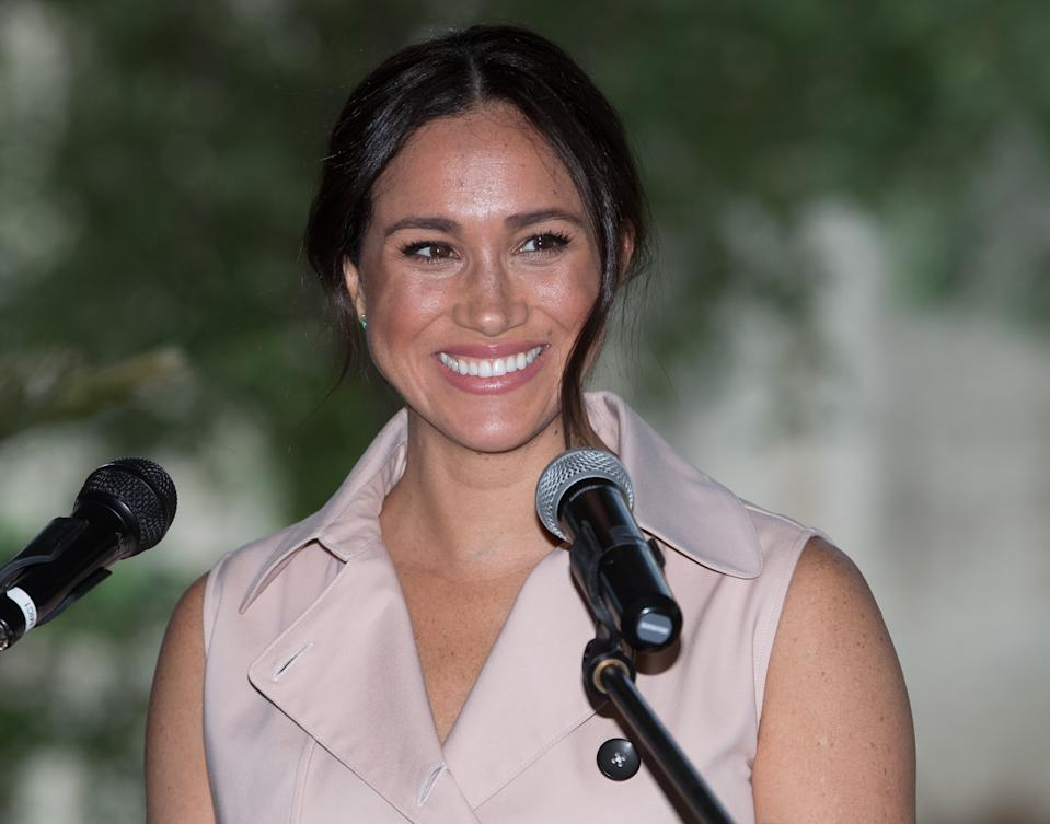 JOHANNESBURG, SOUTH AFRICA - OCTOBER 02: (UK OUT FOR 28 DAYS) Meghan, Duchess of Sussex visits the British High Commissioner's residence to attend an afternoon reception to celebrate the UK and South Africa's important business and investment relationship, looking ahead to the Africa Investment Summit the UK will host in 2020. This is part of the Duke and Duchess of Sussex's royal tour to South Africa. on October 02, 2019 in Johannesburg, South Africa.  (Photo by Pool/Samir Hussein/WireImage)