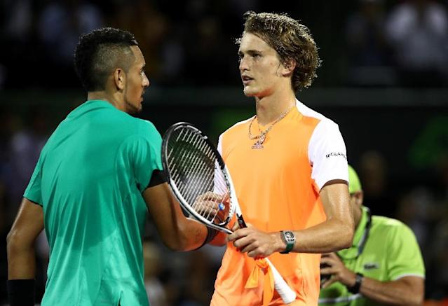 Nick Kyrgios of Australia is congratulated by Alexander Zverev of Germany after his Miami Open quarter-final win, at Crandon Park Tennis Center in Key Biscayne, on March 30, 2017 (AFP Photo/Julian Finney)