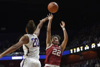 Oklahoma's Ana Llanusa (22) shoots over Connecticut's Olivia Nelson-Ododa (20) in the first half of an NCAA college basketball game, Sunday, Dec. 22, 2019, in Uncasville, Conn. (AP Photo/Jessica Hill)