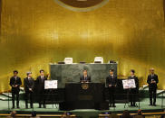 ADDS IDS - Members of South Korean K-pop band BTS, from left, V, Suga, Jin, RM, Jung Kook, Jimin and J-Hope appear at the United Nations meeting on Sustainable Development Goals during the 76th session of the U.N. General Assembly at U.N. headquarters on Monday, Sept. 20, 2021. (John Angelillo/Pool Photo via AP)