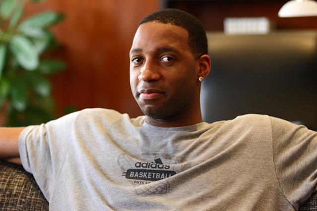 SHENZHEN, CHINA - JUNE 26: (CHINA OUT) Tracy McGrady of the San Antonio Spurs attends a press conference at Nanhai Hotel on June 26, 2013 in Shenzhen, China. (Photo by ChinaFotoPress/ChinaFotoPress via Getty Images)