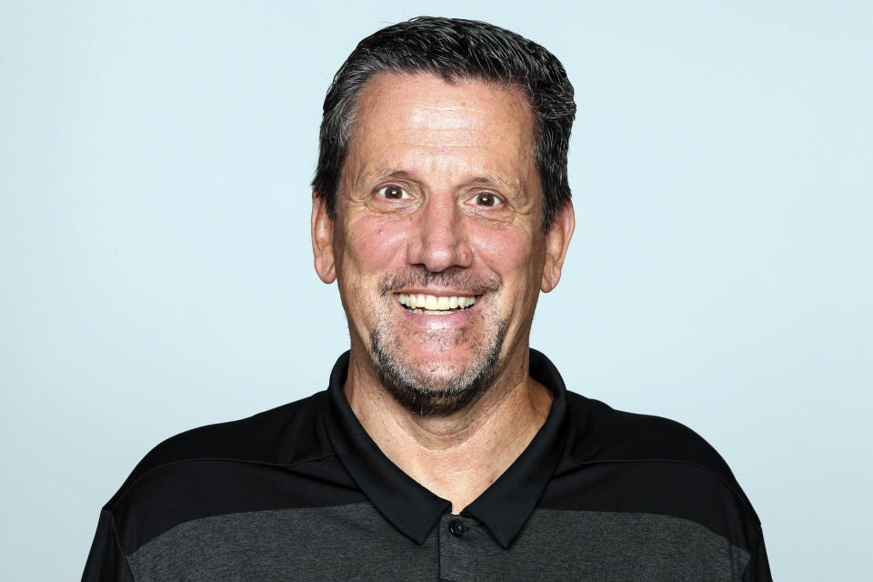 FILE - A 2019 file photo shows Greg Knapp of the Atlanta Falcons NFL football team. Knapp, an assistant coach with the New York Jets, died Thursday, July 22, 2021, of injuries suffered in a bicycle accident near his home in California last Saturday. He was 58. Knapp's family released a statement through the team that the longtime NFL assistant coach had died. (AP Photo/File)