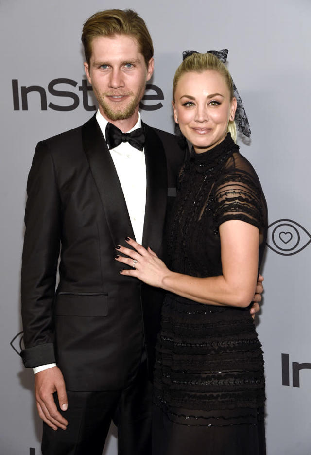 <p>Karl Cook and Kaley Cuoco arrive at the InStyle and Warner Bros. Golden Globes party. (Photo: Chris Pizzello/Invision/AP) </p>