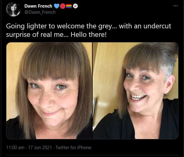 Dawn French revealed her new haircut on Twitter. (Twitter)