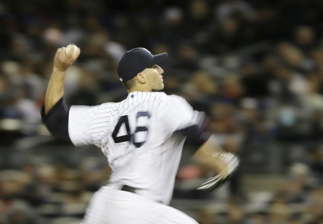 New York Yankees' Andy Pettitte throws in the second inning during Game 1 of the American League championship series against the Detroit Tigers Saturday, Oct. 13, 2012, in New York. (AP Photo/Matt Slocum)