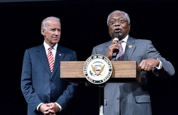 PHOTO: WFile Photo: Vice President Joe Biden is introduced by Rep. James Clyburn at the CBC Spouses 17th Annual Celebration of Leadership in the Fine Arts at the Nuseum Museum on Sept. 24, 2014 in Washington. (File-Earl Gibson Iii/Getty Images)