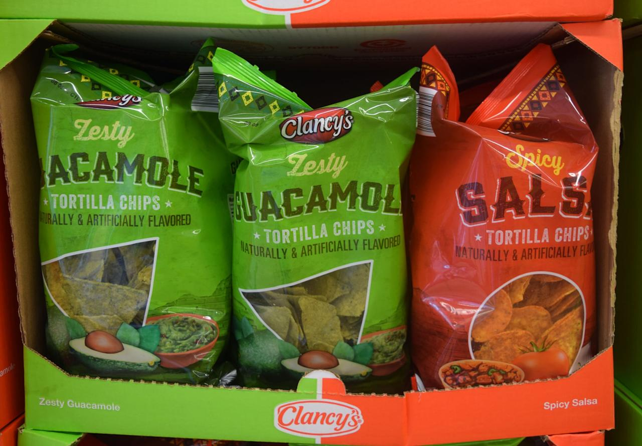 <p>You'll find a lot of Clancy's brand chips at Aldi, including these guacamole- and salsa-flavored ones. Both pack an impressive crunch and legitimately taste like the dipping options they're modeled after. </p>