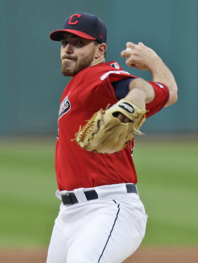 Cleveland Indians starting pitcher Aaron Civale delivers in the first inning in a baseball game against the Chicago White Sox, Monday, Sept. 2, 2019, in Cleveland. (AP Photo/Tony Dejak)