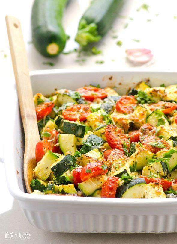 "<p>You won't even miss meat.</p><p>Get the recipe from <a href=""http://ifoodreal.com/garlic-parmesan-zucchini-and-tomato-bake/"" rel=""nofollow noopener"" target=""_blank"" data-ylk=""slk:iFoodreal"" class=""link rapid-noclick-resp"">iFoodreal</a>.</p>"