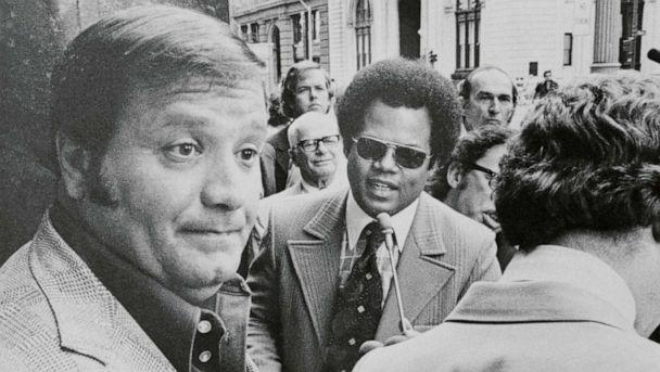 PHOTO: Charles 'Chuckie' O'Brien, left, appeared before a federal grand jury investigating the disappearance of Jimmy Hoffa in 1975. (Bettmann Archive via Getty Images, FILE)