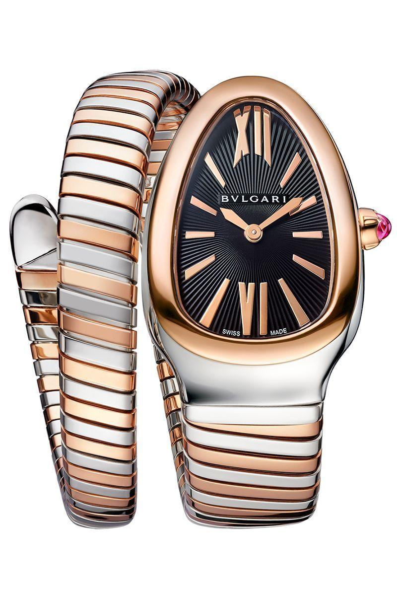 """<p><strong>Bulgari Serpenti Tubogas Watch</strong></p><p>bulgari.com</p><p><strong>$35.00</strong></p><p><a href=""""https://www.bulgari.com/en-us/102123.html"""" rel=""""nofollow noopener"""" target=""""_blank"""" data-ylk=""""slk:Shop Now"""" class=""""link rapid-noclick-resp"""">Shop Now</a></p><p>Bulgari's grasp on the fine jewelry industry is exceptional. The Italian label, founded by Sotirio Bulgari in 1884, has been lauded for its bold, sizable designs that recall the Greek and Roman baubles from antiquity—albeit with a modern twist. </p><p>The most iconic of these designs is the Serpenti, a style that centers on the snake (a major motif of ancient times) and uses the <em>tubogas</em> (a.k.a. """"gas-pipe"""") technique, allowing a piece to coil around the wrist to wondrous effect. So when Bulgari decided to introduce watches to the company in the late 1940s, the Serpenti was the obvious choice. Keeping to its jewelry roots, the Serpenti has evolved over the decades to feature diamonds, rubies, enamels, and all manner of gems. </p>"""