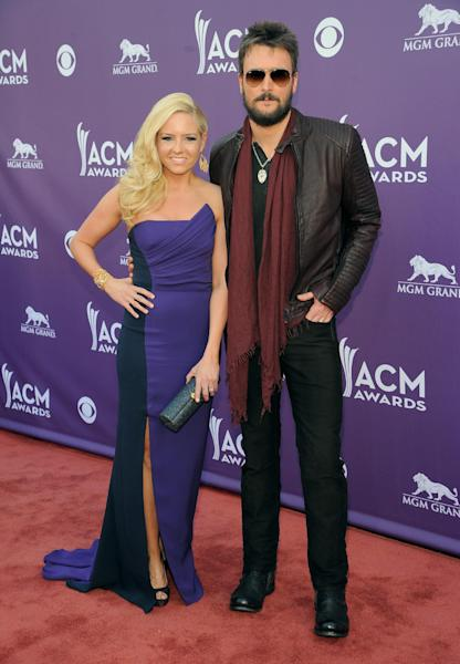 Singer Eric Church, right, and Katherine Blasingame arrive at the 48th Annual Academy of Country Music Awards at the MGM Grand Garden Arena in Las Vegas on Sunday, April 7, 2013. (Photo by Al Powers/Invision/AP)