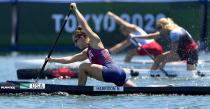 Nevin Harrison, of the United States, competes in the women's canoe single 200m final at the 2020 Summer Olympics, Thursday, Aug. 5, 2021, in Tokyo, Japan. (AP Photo/Kirsty Wigglesworth)