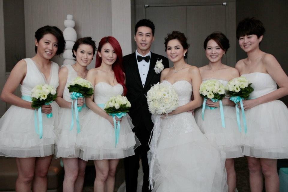 The newly-weds and the bridesmaids
