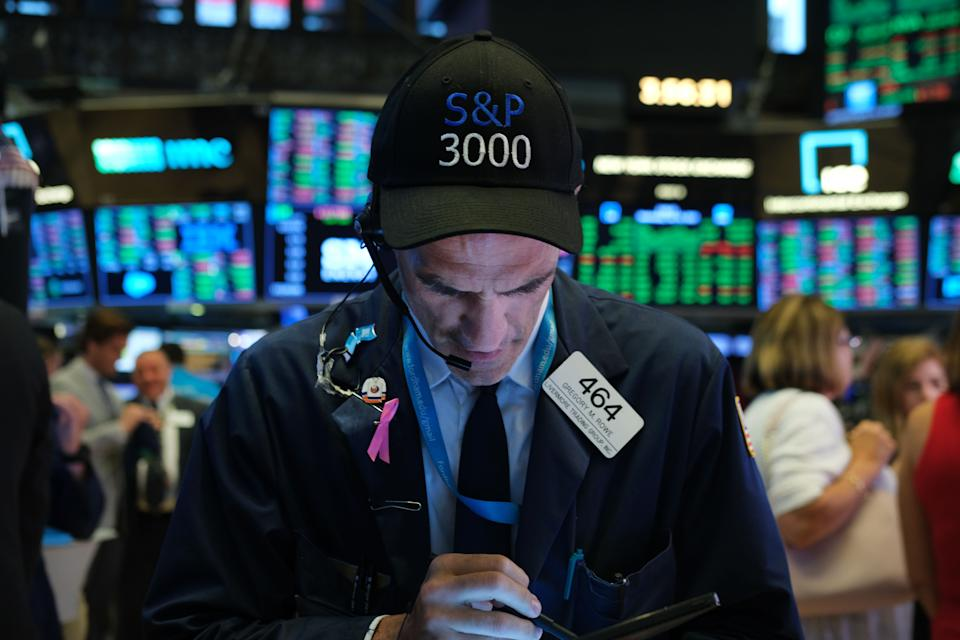 NEW YORK, NEW YORK - JULY 10: Traders work on the floor of the New York Stock Exchange (NYSE) on July 10, 2019 in New York City. Following remarks from Federal Reserve Chairman Jerome Powell about a possible rate cut, the Dow rallied on Wednesday and the S&P 500 crossed 3,000 points for the first time ever. (Photo by Spencer Platt/Getty Images)