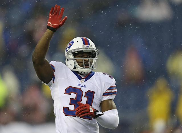 Buffalo Bills safety Jairus Byrd warms up before an NFL football game against the New England Patriots Sunday, Dec. 29, 2013, in Foxborough, Mass. (AP Photo/Steven Senne)