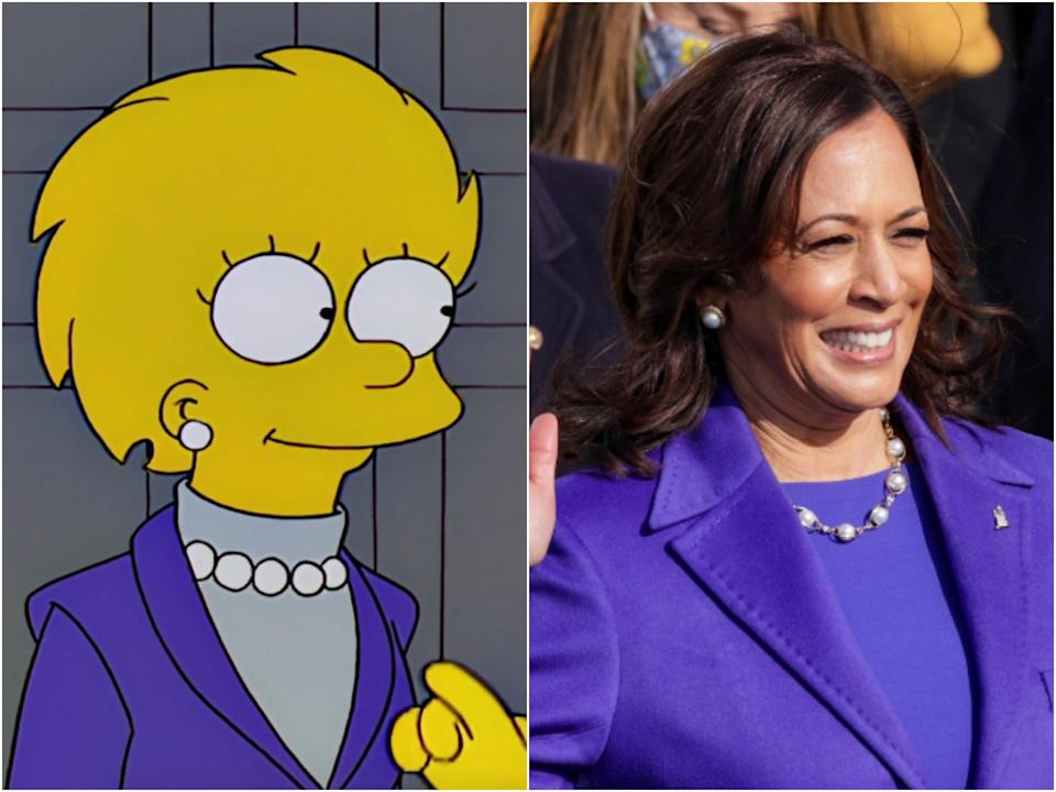 President Lisa Simpson in the Simpsons episode 'Bart to the Future', and vice president Kamala Harris yesterday (20 January) (Disney/Alex Wong/Getty Images)