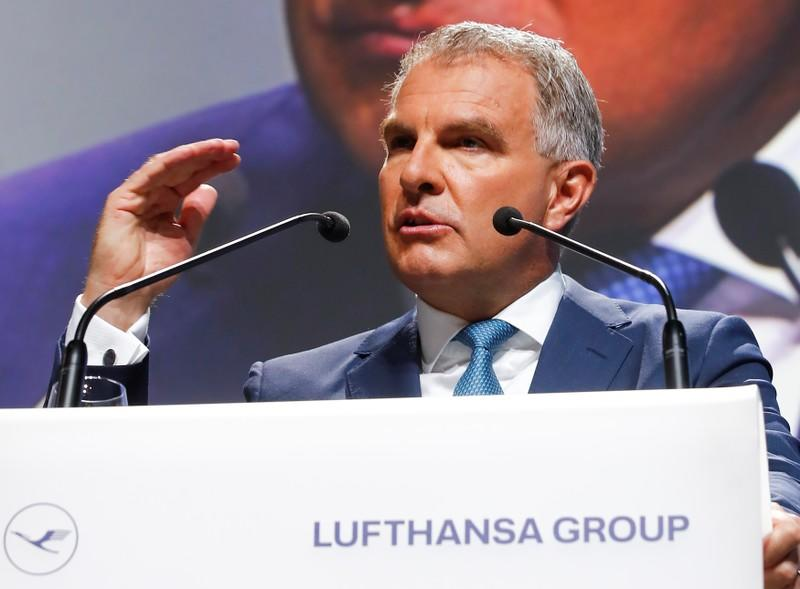Carsten Spohr, CEO of German airline Lufthansa AG speaks at the company's annual shareholder meeting in Bonn