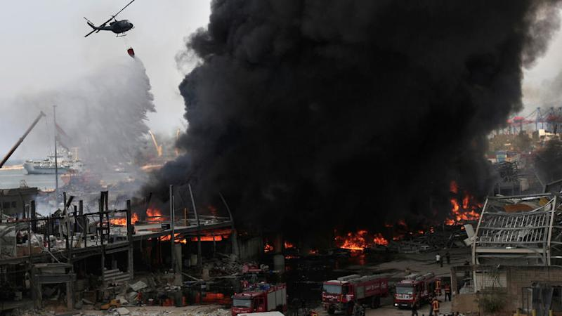 Huge fire breaks out at Beirut port one month after fatal explosion