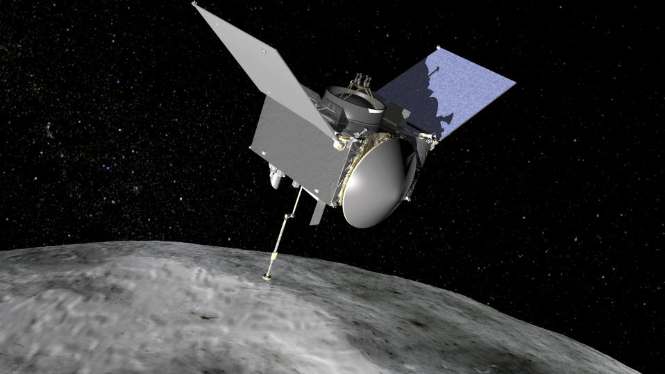 The Origins, Spectral Interpretation, Resource Identification, Security-Regolith Explorer (OSIRIS-REx) spacecraft which will travel to the near-Earth asteroid Bennu and bring a sample back to Earth for study is seen in an undated NASA artist rendering.