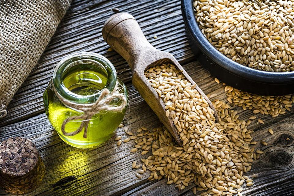 """<p>Also known as linseed oil, this healthy oil is derived from the dried, ripened seeds of the flax plant. Flaxseed oil is a well-suited vegetable oil substitute for salad dressings, marinades, or drizzling over foods, but it doesn't work well for cooking over heat or baking as it is not a heat-stable oil. </p><p><strong>RELATED: </strong><a href=""""https://www.goodhousekeeping.com/health/diet-nutrition/g32108013/healthiest-cooking-oils/"""" rel=""""nofollow noopener"""" target=""""_blank"""" data-ylk=""""slk:The Healthiest Cooking Oils, According to a Registered Dietitian"""" class=""""link rapid-noclick-resp"""">The Healthiest Cooking Oils, According to a Registered Dietitian</a></p>"""