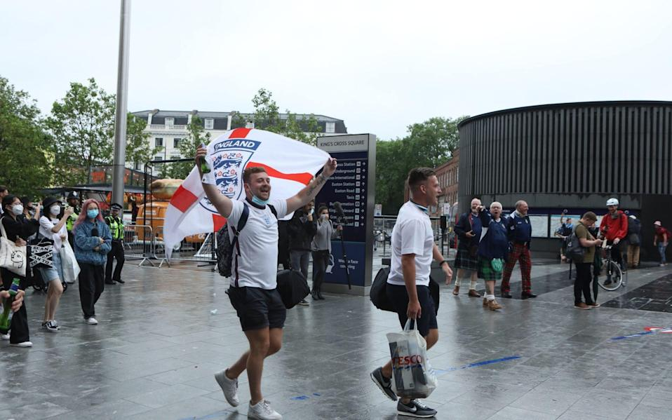 England fans on their way to Wembley - PA