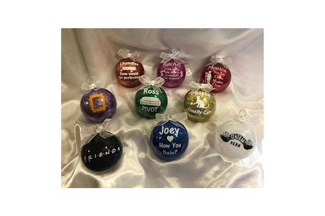 "<p>Rachel, Monica, Phoebe, Joey, Chandler, and Ross will all be there for you this holiday season with individual ornament balls bearing a classic quote from each character. Plus, there's a Central Perk and a general show-themed ball to round out the set. <strong><a href=""https://www.etsy.com/listing/527229754/friends-christmas-ornament-set"" rel=""nofollow noopener"" target=""_blank"" data-ylk=""slk:Buy here"" class=""link rapid-noclick-resp"">Buy here</a></strong> </p>"