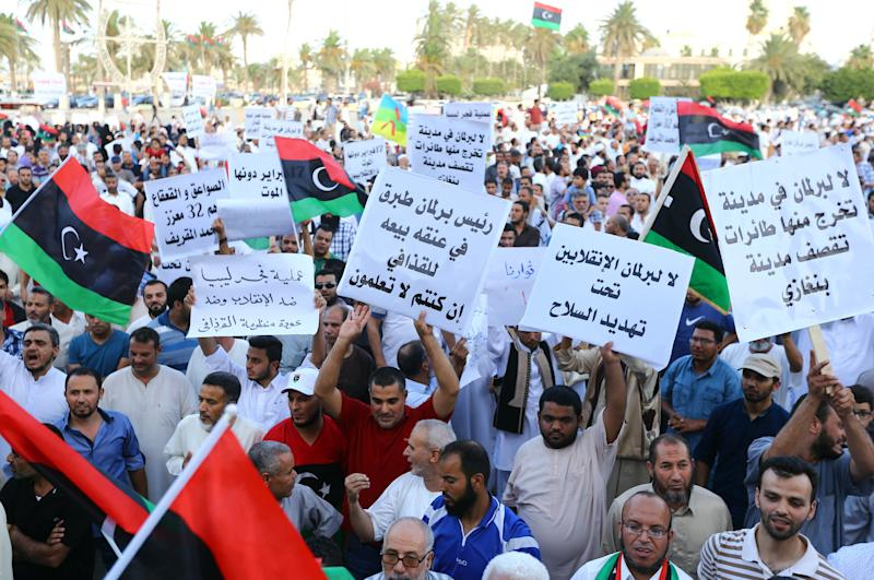 Libyans gather during a protest against the new nationalist-dominated parliament on August 8, 2014, in the capital Tripoli