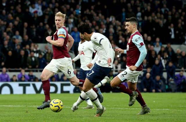 Tottenham's Son Heung-min ran the length of the pitch to score a wonder goal in the 5-0 win over Burnley (Jonathan Brady/PA)