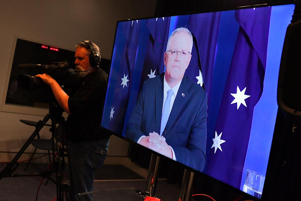 CANBERRA, AUSTRALIA - NOVEMBER 30: Prime Minister Scott Morrison delivers a press conference to media virtually from The Lodge on November 30, 2020 in Canberra, Australia. Prime Minister Scott Morrison is attending parliament virtually while he completes 14 days of quarantine at The Lodge following his visit to Japan. (Photo by Sam Mooy/Getty Images)
