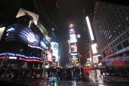 Times Square is pictured before Earth Hour in New York