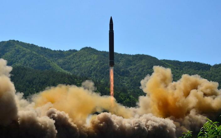 The launch on Tuesday followed tests of the intercontinental ballistic missile Hwasong-14, pictured earlier this year - REUTERS