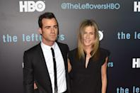 """<p>After working together on the 2012 film <em>Wanderlust</em>, Aniston and actor Justin Theroux began dating and, shortly thereafter, were <a href=""""https://www.harpersbazaar.com/celebrity/latest/a23377204/justin-theroux-on-jennifer-aniston-breakup-split-divorce/"""" rel=""""nofollow noopener"""" target=""""_blank"""" data-ylk=""""slk:engaged"""" class=""""link rapid-noclick-resp"""">engaged</a>. The two tied the knot at their <a href=""""https://www.harpersbazaar.com/celebrity/latest/g18208028/jennifer-aniston-justin-theroux-relationship-timeline/?slide=32"""" rel=""""nofollow noopener"""" target=""""_blank"""" data-ylk=""""slk:Bel-Air home"""" class=""""link rapid-noclick-resp"""">Bel-Air home</a> in 2015. </p>"""