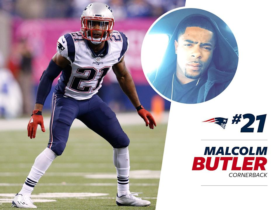 """<p>When Malcolm Butler <a href=""""https://www.instagram.com/p/BFVDAVPA5-3/?taken-by=mac_bz"""" rel=""""nofollow noopener"""" target=""""_blank"""" data-ylk=""""slk:attended"""" class=""""link rapid-noclick-resp"""">attended</a> 2016's Grammy Awards with teammate Julian Edelman, he looked both sharp and modern in a blue suit accessorized with gold chains and a flashy watch. The award show red carpet may have belonged to fashionable musicians, but Butler held his own. </p>"""