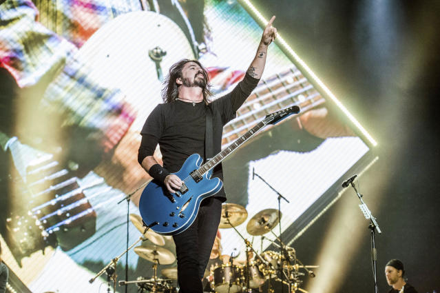 Dave Grohl of the Foo Fighters performs at the Voodoo Music Experience in City Park on Oct. 28, 2017, in New Orleans. (Photo by Amy Harris/Invision/AP)