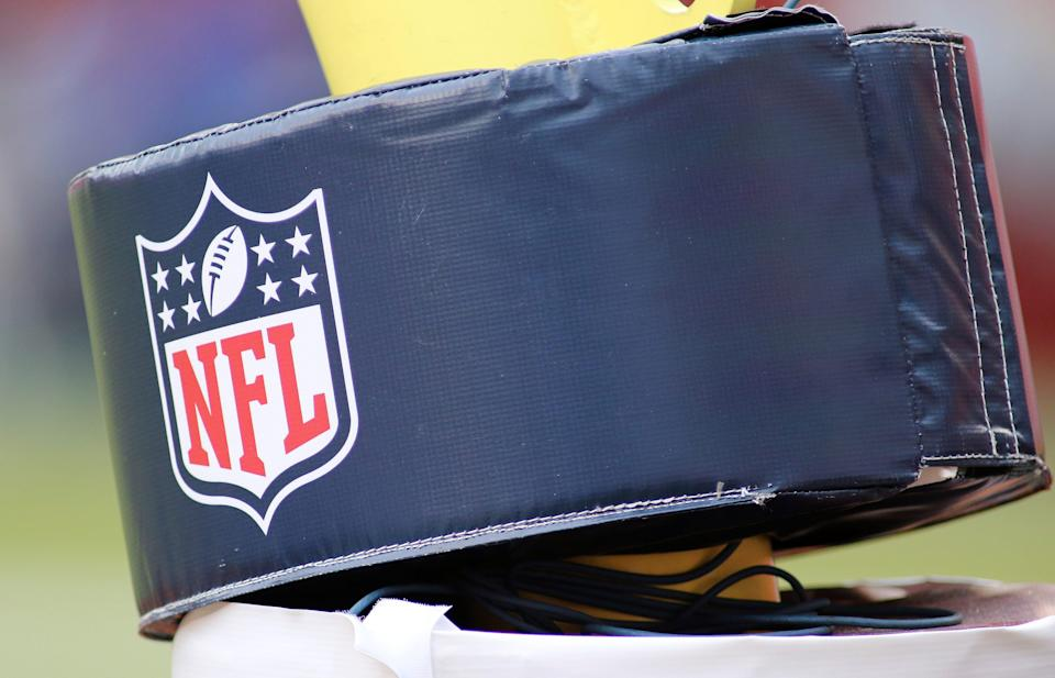 A close up an NFL football logo on a goalpost during an NFL football game between the Los Angeles Rams and Washington Football Team, Sunday, Oct. 11, 2020 in Landover, Md.