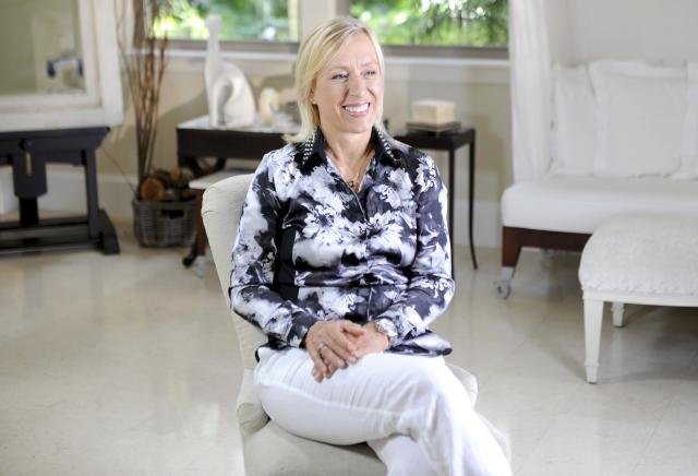 """Martina Navratilova is a tennis legend. Born and raised in Communist Czechoslovakia, she defected to the United States at 18 years old, leaving her family behind in order to pursue her career without the bounds of the government's restrictions on when and where she was allowed to play. Once in America, Navratilova was faced with the media's negative reaction to her outspoken, confident nature, as well as the complexities of being a gay woman, which meant losing sponsorships. Still, Navratilova dominated.  Arguably the best tennis player to ever step on the court, she amassed an unmatched number of professional records over the course of a career that spanned an amazing four decades. She has won 59 Grand Slam crowns, a record nine Wimbledon singles champions. As she says, """"The ball doesn't know how old I am,"""" so even when Navratilova retired in 1994, she continued to play doubles until 2006. She was 50 years old.  As one of the first openly gay sports figures, Navratilova has been a vocal advocate for equal rights and a strong supporter of many charities benefitting the LGBT community. She has received numerous awards from many of the most influential organizations within the LGBT community."""