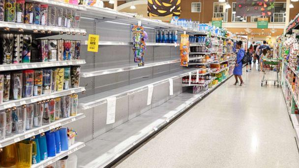 PHOTO: Empty shelves are seen in a drink's section of a store ahead of Hurricane Dorian in Cocoa Beach, Florida, U.S., on Thursday, Aug. 29, 2019. (Zack Wittman/Bloomberg via Getty Images)