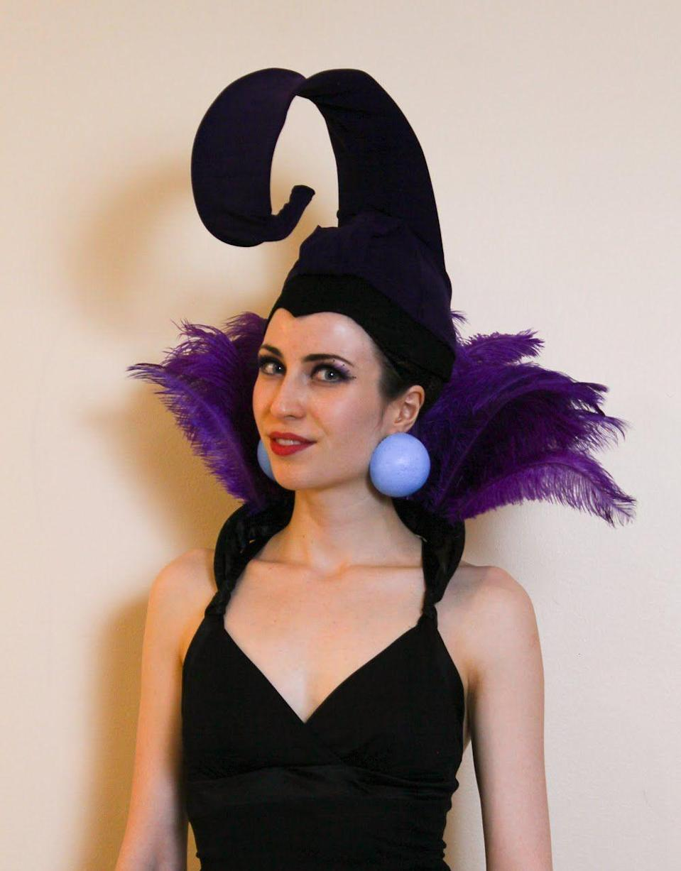 """<p>Want to rock a really unique Disney villainess costume this Halloween? DIY the evil sorceress Yzma from 2000's <em>The Emperor's New Groove </em>using little more than styrofoam balls and purple feathers. (The curlicue cap gets its shape thanks to simple wire clothes hangers.)</p><p><strong>Get the tutorial at <a href=""""http://www.itsallgeekto.me/2017/11/diy-yzma-halloween-costume.html"""" rel=""""nofollow noopener"""" target=""""_blank"""" data-ylk=""""slk:It's All Geek to Me"""" class=""""link rapid-noclick-resp"""">It's All Geek to Me</a>. </strong></p><p><a class=""""link rapid-noclick-resp"""" href=""""https://www.amazon.com/Sowder-Ostrich-Feathers-12-14inch-Decoration/dp/B00SRK0K46/ref=sr_1_1_sspa?tag=syn-yahoo-20&ascsubtag=%5Bartid%7C10050.g.36674692%5Bsrc%7Cyahoo-us"""" rel=""""nofollow noopener"""" target=""""_blank"""" data-ylk=""""slk:SHOP PURPLE OSTRICH FEATHERS"""">SHOP PURPLE OSTRICH FEATHERS</a> </p>"""