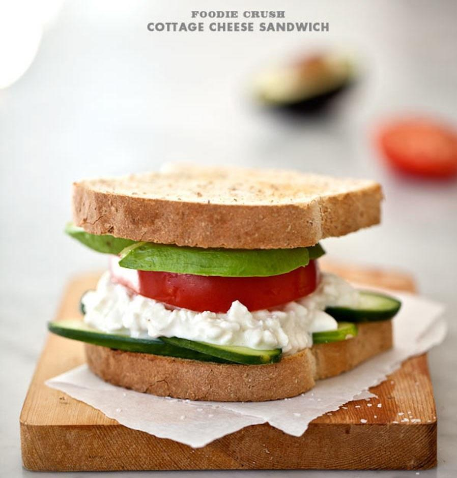 """<p>Some people might think this is crazy. Those people are missing out on something simple, quick, and surprisingly delicious. Get the recipe <a href=""""http://www.foodiecrush.com/its-just-a-simple-cottage-cheese-sandwich?mbid=synd_yahoofood"""" rel=""""nofollow noopener"""" target=""""_blank"""" data-ylk=""""slk:here"""" class=""""link rapid-noclick-resp"""">here</a>.</p><p><b>Per one serving:</b> <em>507 calories, 22 grams protein</em></p>"""