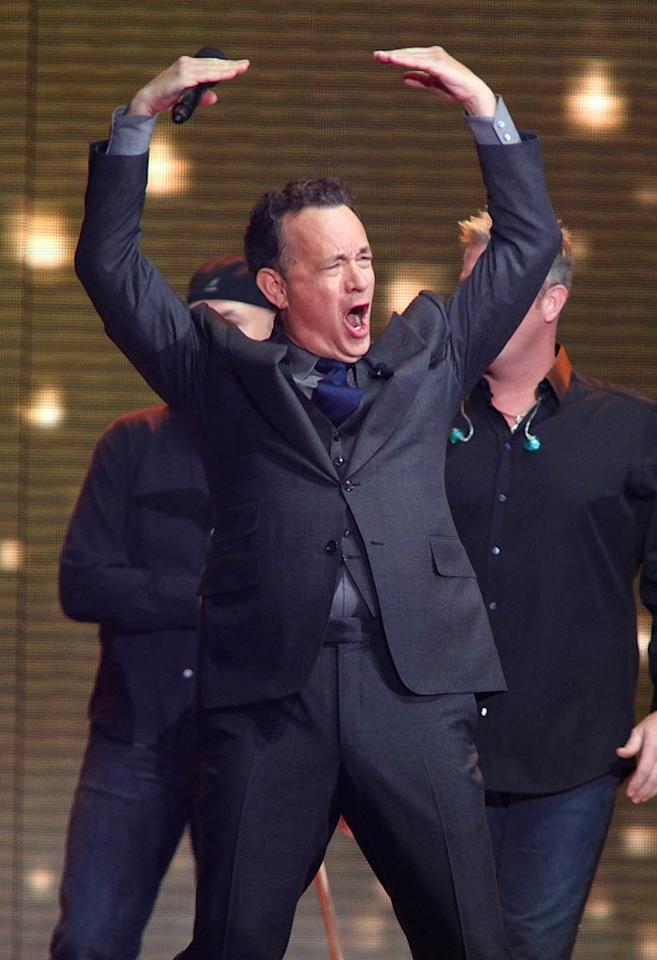 "Tom Hanks served as host of the first hour ... and looked really revved up to be there! Believe it or not, the Oscar winner's first appearance on the show was in 1988 to promote one of his more forgettable films, ""Punchline."" Barry Brecheisen/<a href=""http://www.wireimage.com"" target=""new"">WireImage.com</a> - May 17, 2011"