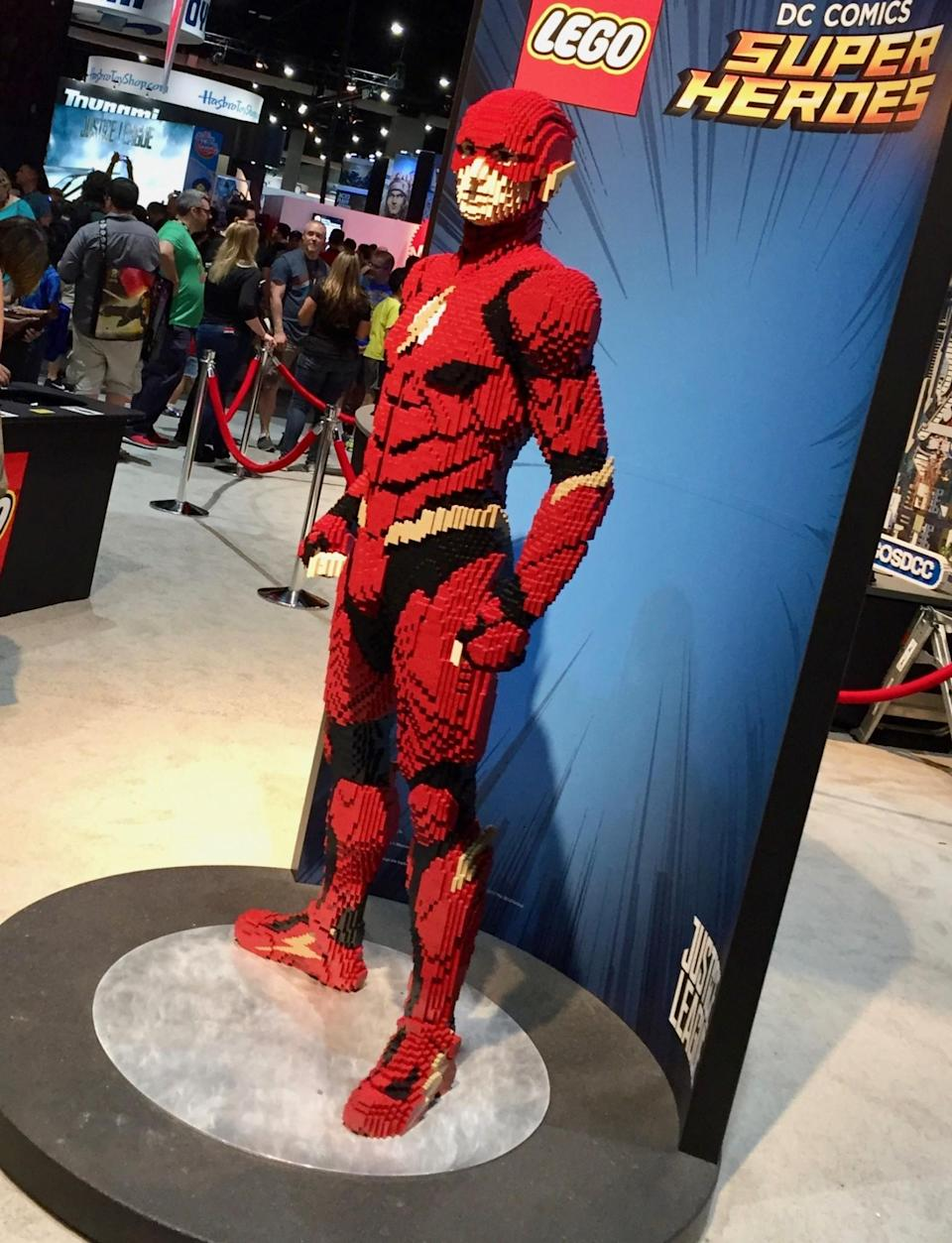 <p>Next door to the DC booth is Lego, which has this life-sized version of the hero on display. (Photo: Marcus Errico/Yahoo Movies) </p>