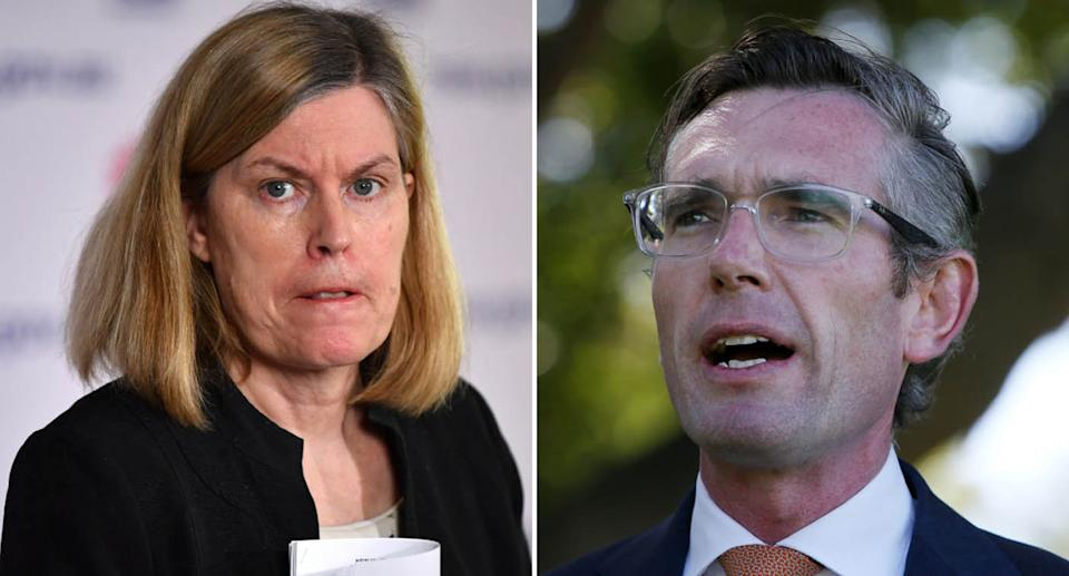 NSW Chief Health Officer Dr Kerry Chant is pictured. Also pictured is NSW Premier Dominic Perrottet.