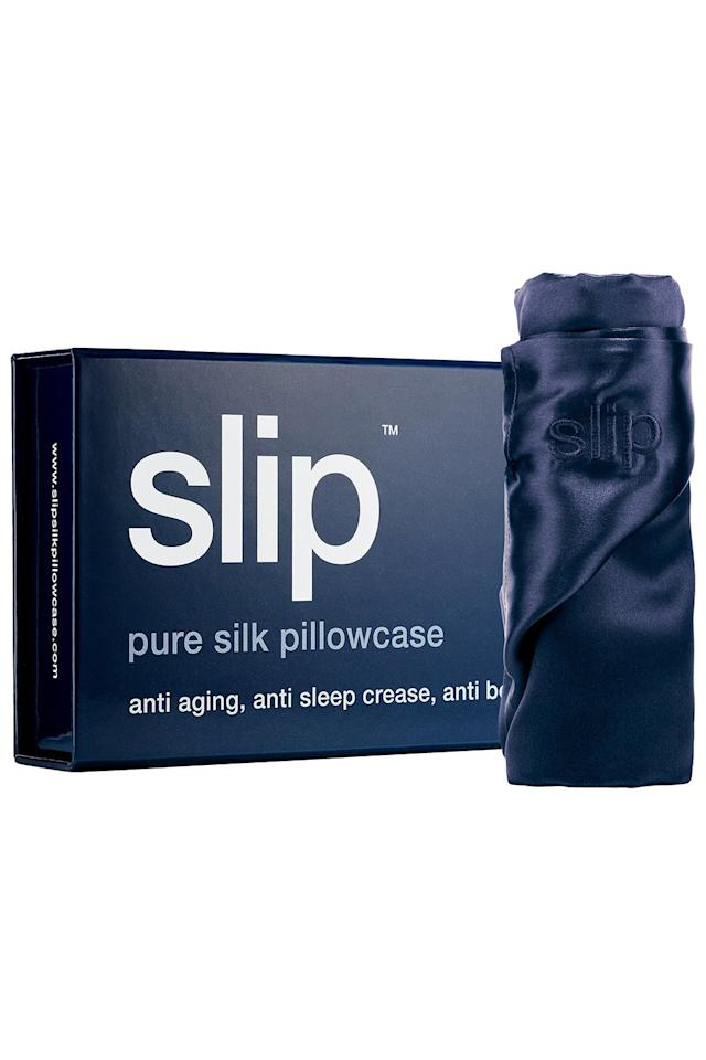 """<p><strong>slip</strong></p><p>dermstore.com</p><p><strong>$79.00</strong></p><p><a href=""""https://www.dermstore.com/product_pure+silk+pillowcase++Queen_66737.htm"""" target=""""_blank"""">Shop Now</a></p><p>This best-selling pillowcase is a favorite of celebs like <a href=""""https://www.slip.com/blogs/press/kourtney-kardashian-1"""">Kourtney Kardashian </a>and <a href=""""http://people.com/style/kerry-washington-favorite-beauty-products/"""">Kerry Washington</a>-and, gotta say, their skin looks <em>good</em>. Though <strong>sleeping on your back is the best position to help stave off wrinkles</strong> (if that's what you're looking to do), side and stomach sleepers can """"cover their pillow with a silk pillowcase to minimize friction,"""" says NYC-based dermatologist, Dr. Dennis Gross, MD.<br></p>"""